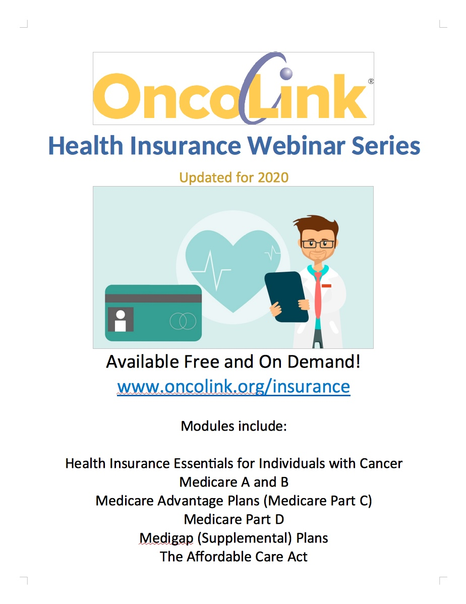 OncoLink Health Insurance Webinar Series Flier